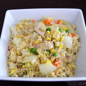A bowl of fried rice.