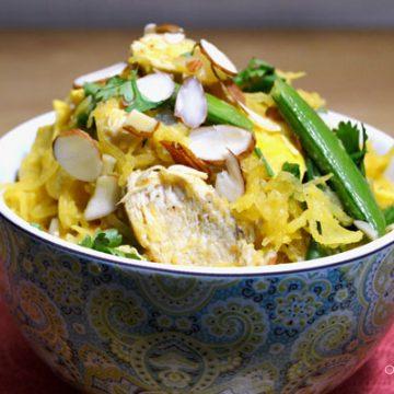 Closeup of paleo pad thai in a bowl.