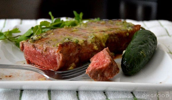 Seared Steak with Jalapeño Lime Butter