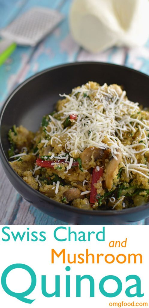 Topped with mizithra cheese. Swiss chard and mushroom quinoa makes a great side or main dish!