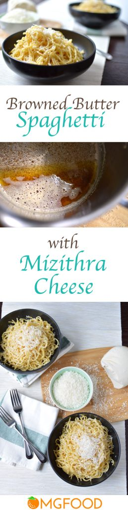 Pinterest banner for spaghetti with mizithra cheese.