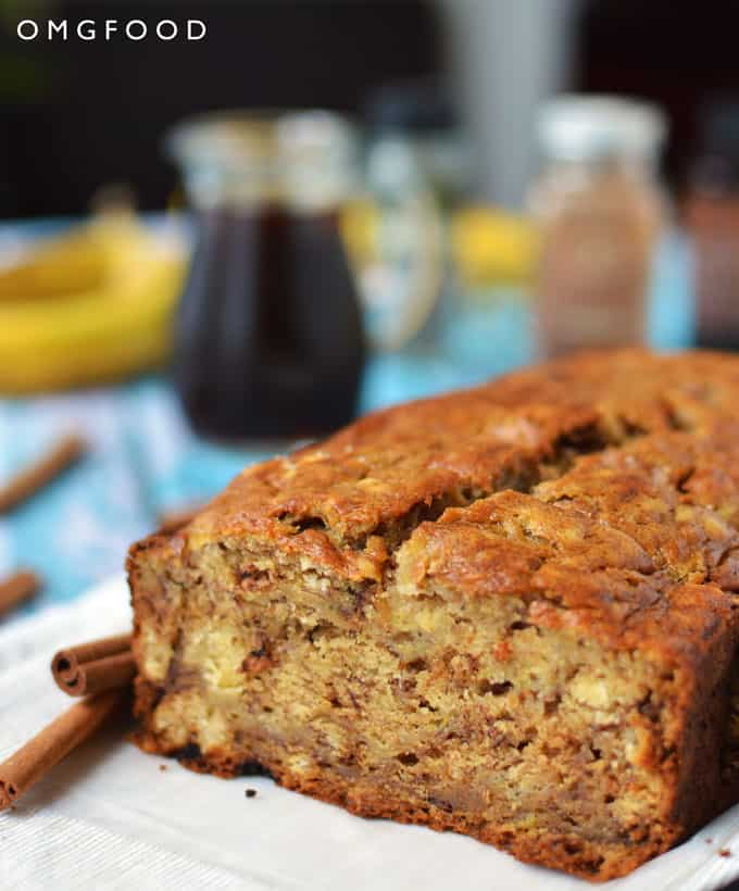 Closeup of cut banana bread.