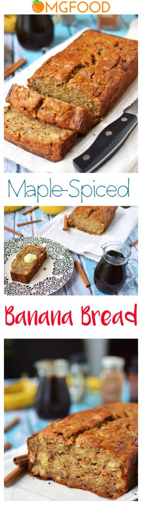Pinterest banner for maple-spiced banana bread.
