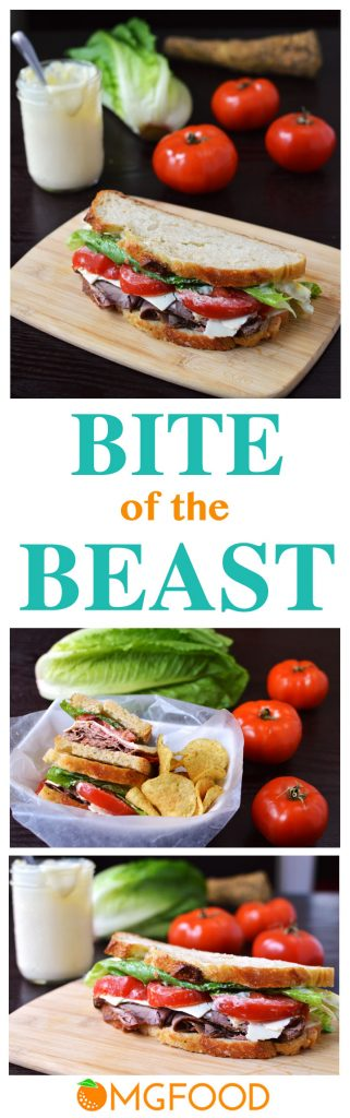"Bite of the Beast (Roast Beef and Cheddar Sandwich) - The combination of roast beef, sharp cheddar, tomato, and creamy horseradish is what makes up the name ""Bite of the Beast!"" A great sandwich for lunch (or even dinner). 