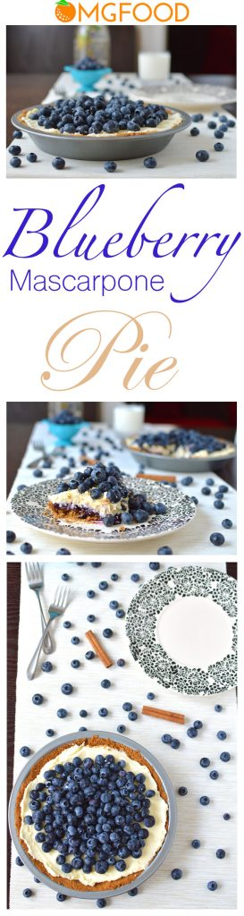 A graham cracker and walnut crust with a thin layer of tart blueberry jam, lightly sweetened mascarpone cream, and topped with fresh blueberries. A perfect summer dessert with just the right amount of sweetness! | omgfood.com