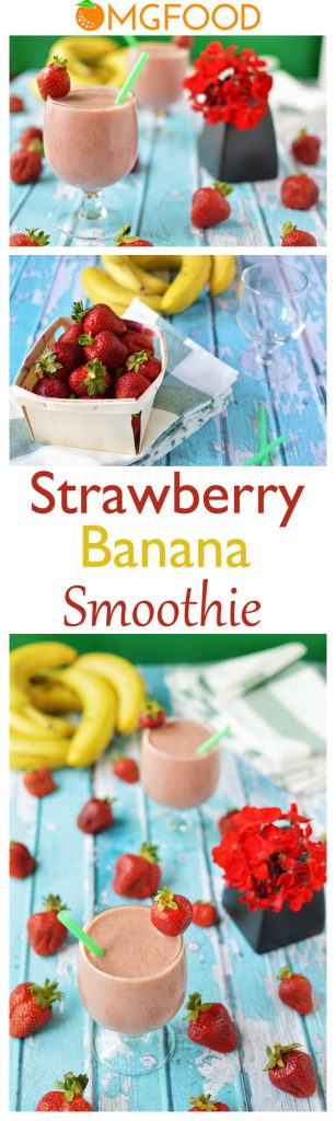 This strawberry banana smoothie is easy to make and is good for you! | omgfood.com