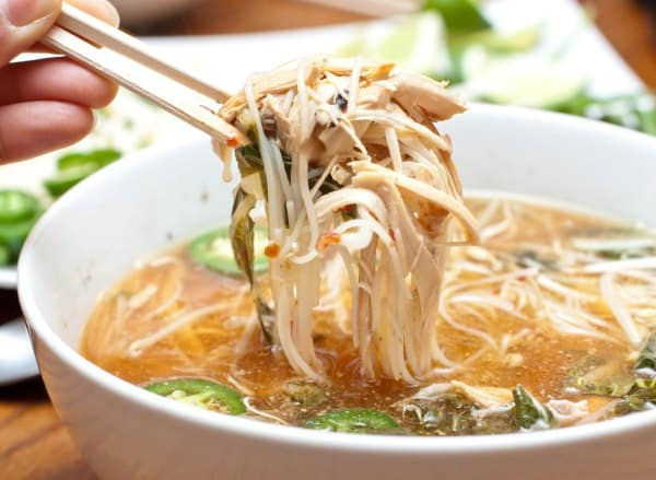 A closeup of chicken soup.