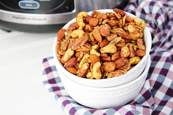 Closeup of nut trail mix in a bowl.