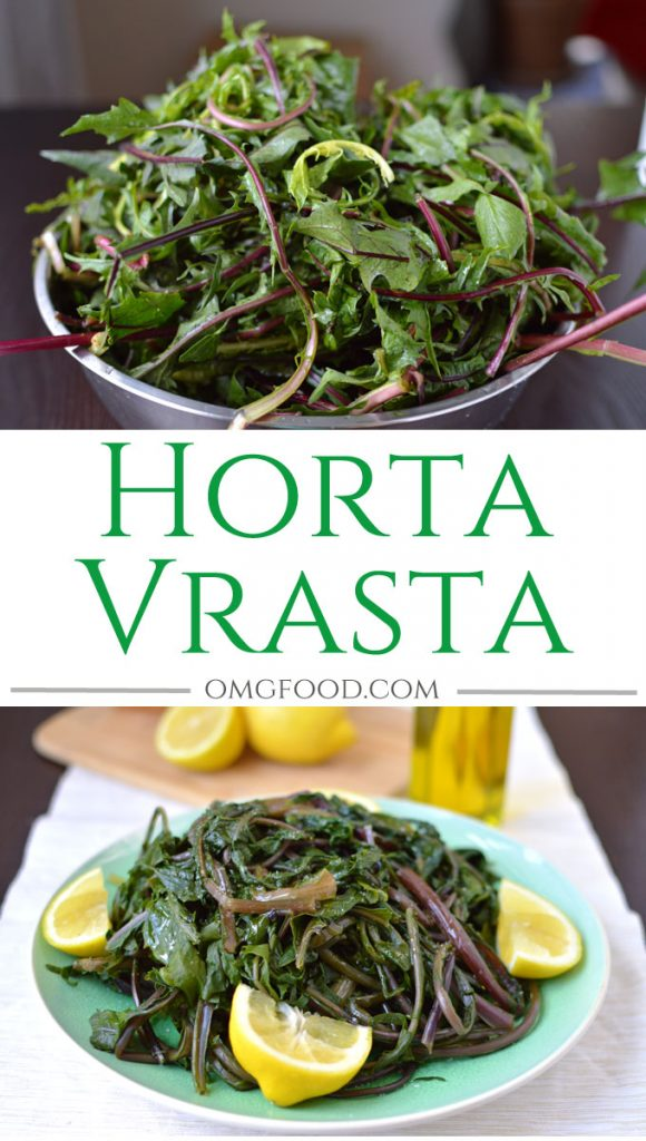 Horta Vrasta - Greek-style dandelion greens boiled and dressed with extra virgin olive oil, fresh lemon juice, and salt. | omgfood.com