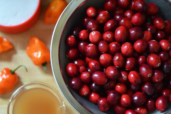 A closeup of cranberries in a mesh strainer.
