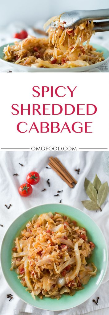 Spicy Shredded Cabbage: A Greek inspired dish of braised cabbage spiced with cinnamon and cloves. | omgfood.com