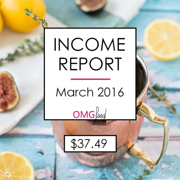 Traffic and Income Report - March 2016 | omgfood.com