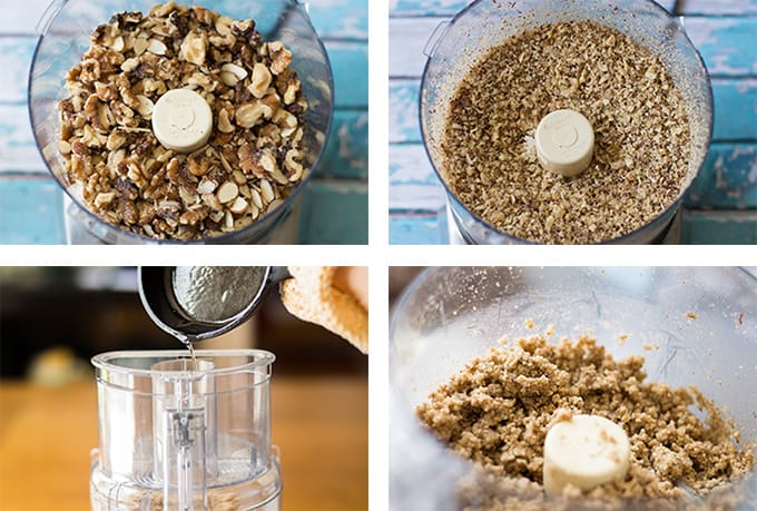 A collage of whole and ground nuts in a food processor, oil being poured into a food processor, and a nut pie crust mixture.