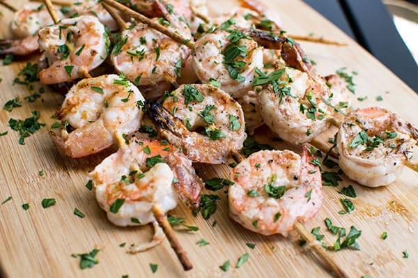 Garides Souvlakia (Skewered Shrimp)