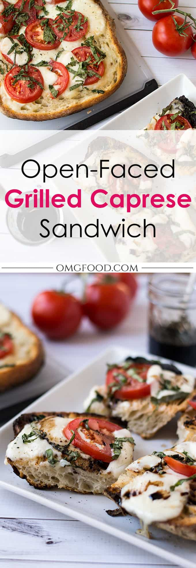 Pinterest banner for open-faced grilled caprese sandwich.