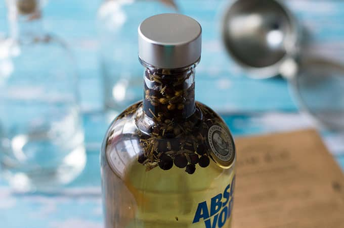 A closed bottle of vodka with juniper berries inside.
