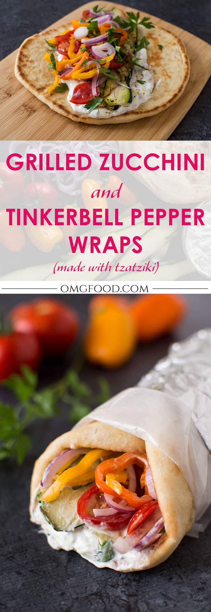 Grilled Zucchini and Tinkerbell Pepper Wraps with Tzatziki | omgfood.com