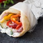 Grilled Zucchini and Tinkerbell Pepper Wraps with Tzatziki