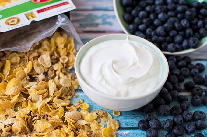 A bowl of yogurt surrounded by scattered cereal and blueberries on a tabletop.