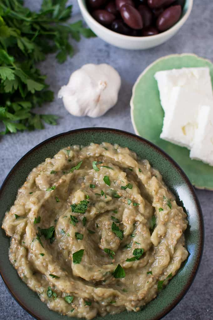Close up of Greek eggplant dip in a bowl.