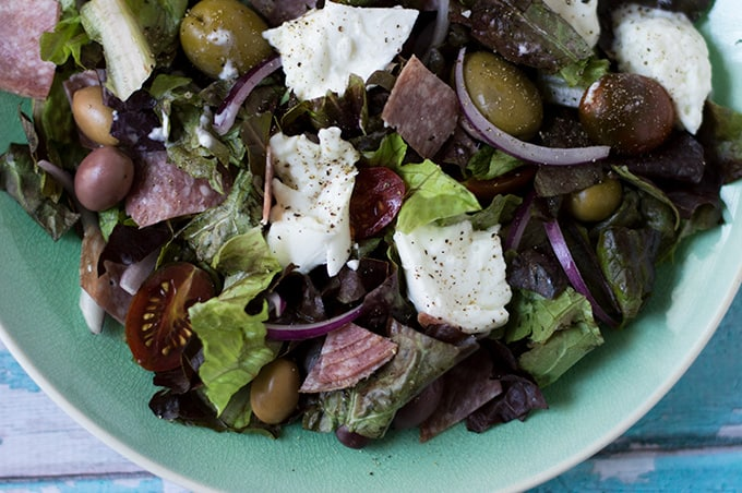 Buffalo Mozzarella and Salami Salad | omgfood.com