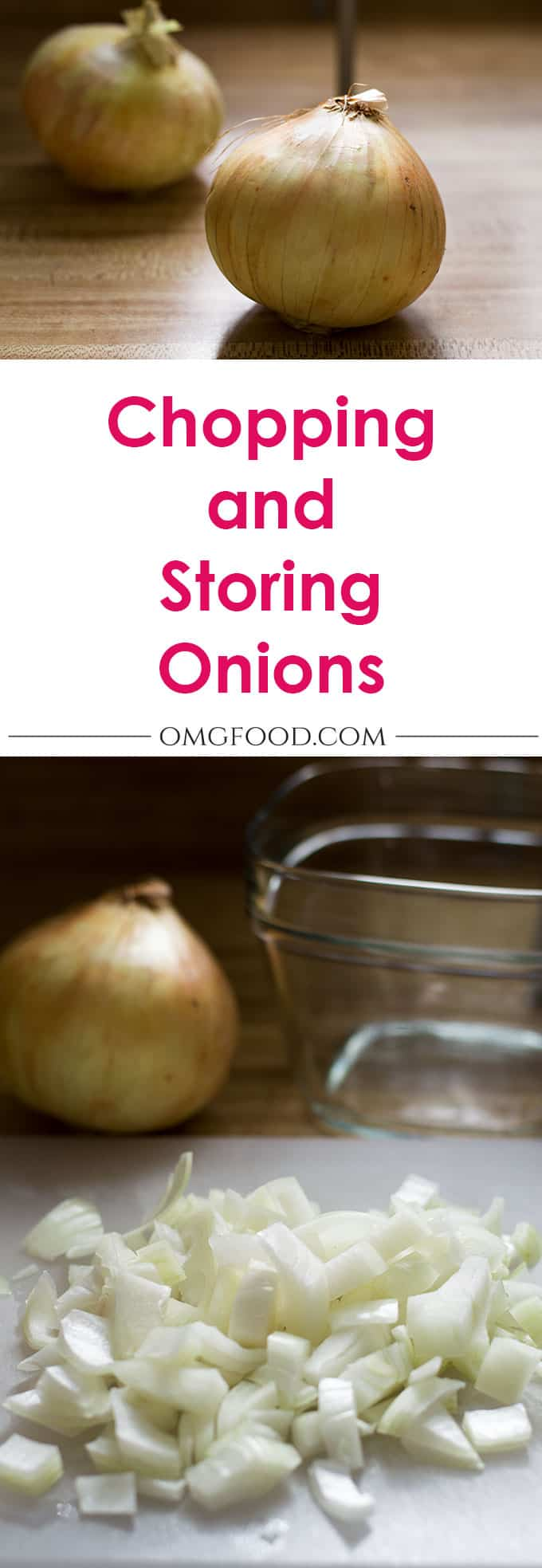 Pinterest banner for chopping and storing onions.