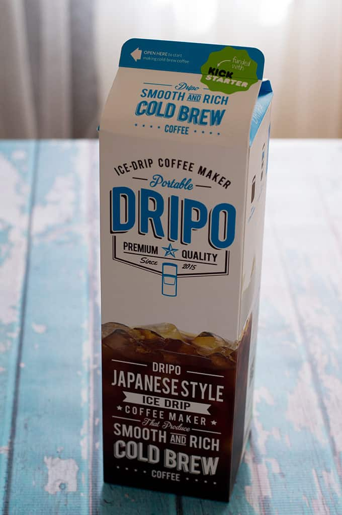 Close up of a cold brew coffee maker package.