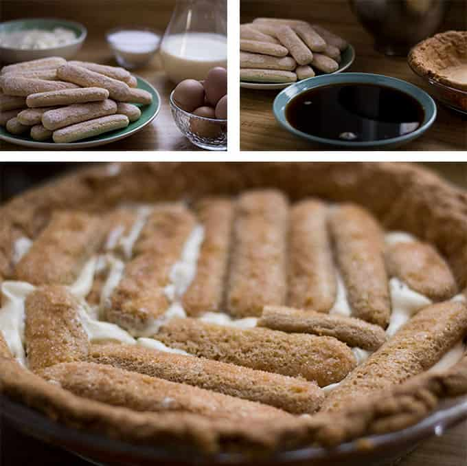 A collage of tiramisu pie being assembled.