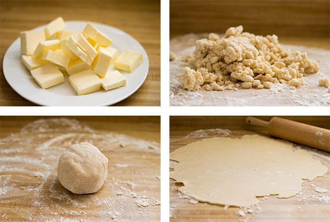 Collage of sliced butter, crumbled pie dough, a ball of pie dough, and rolled out pie dough.