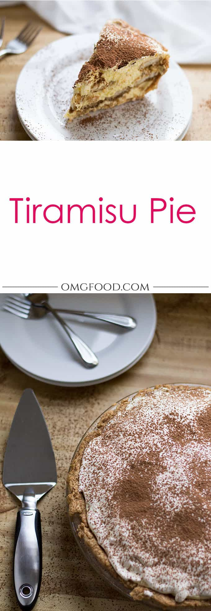 Pinterest banner for tiramisu pie.