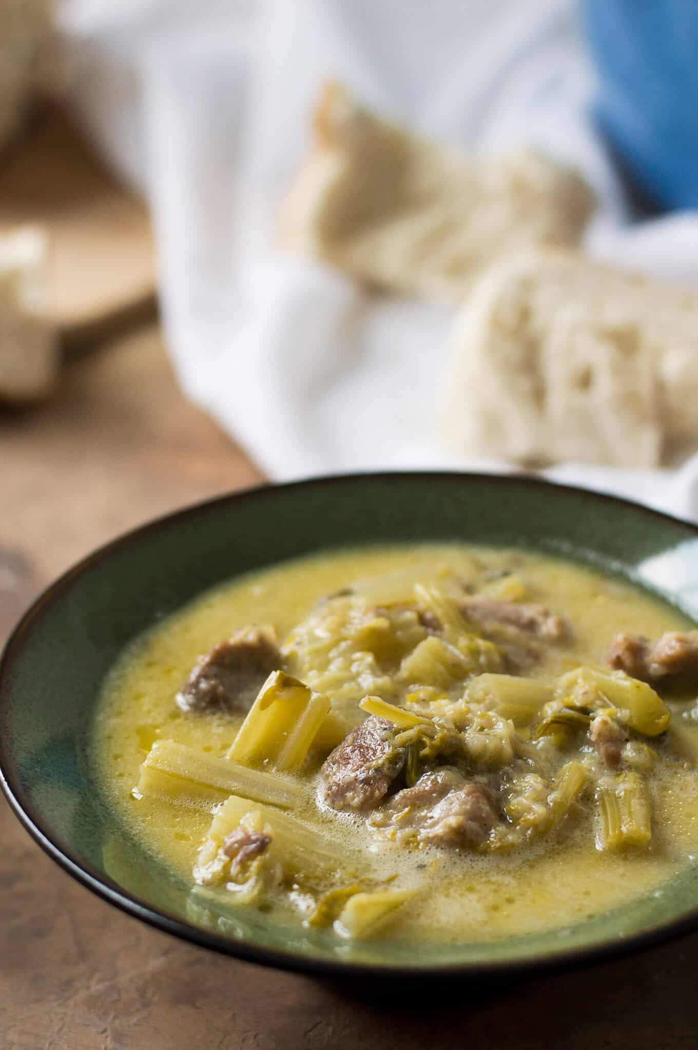 Hoirino me Selino Avgolemono (Pork and Celery Stew with Egg-Lemon Sauce) | omgfood.com