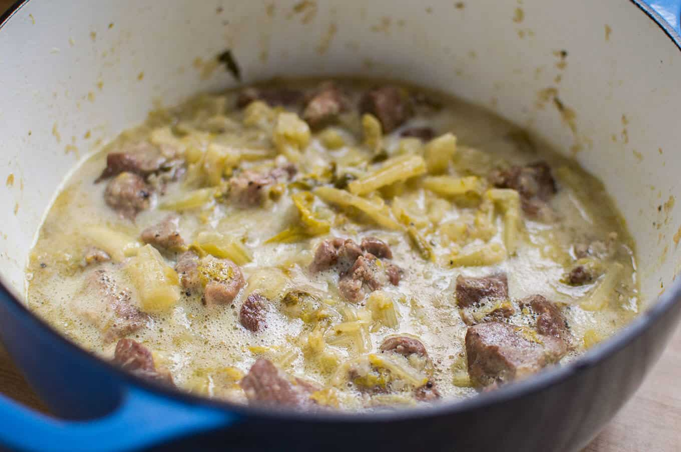 Hoirino me Selino Avgolemono (Pork and Celery Stew with Egg-Lemon Sauce) | omgfood.com