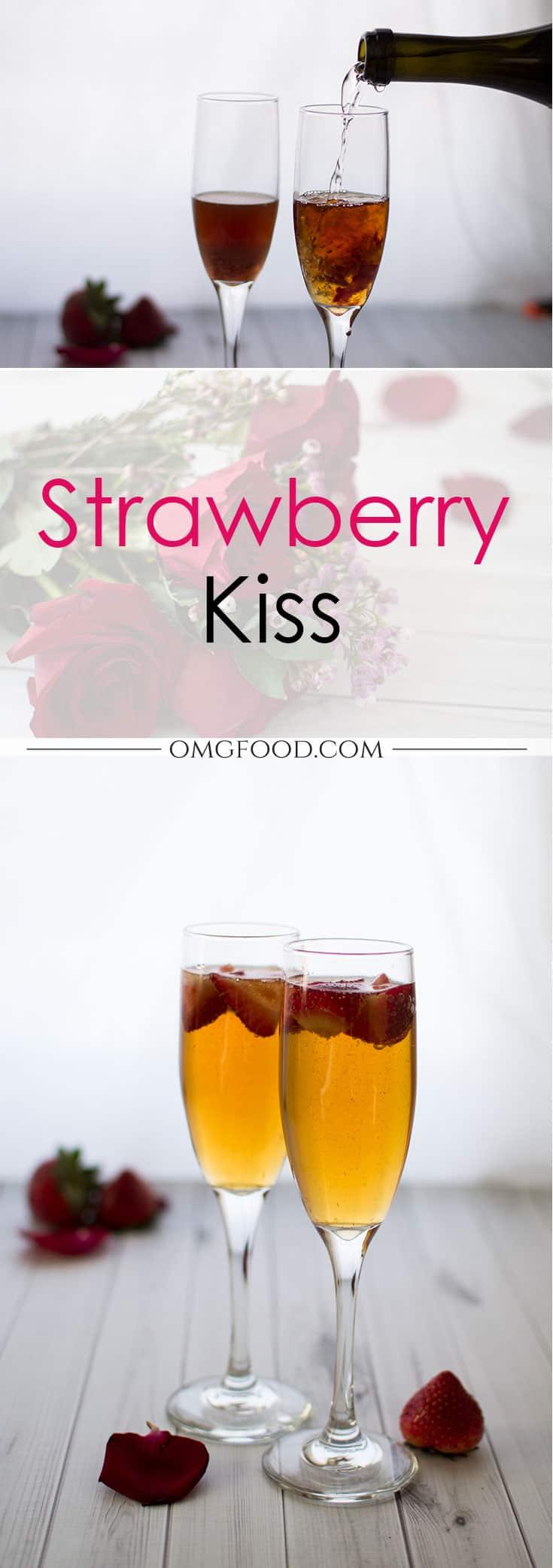 Pinterest banner for strawberry kiss cocktail.