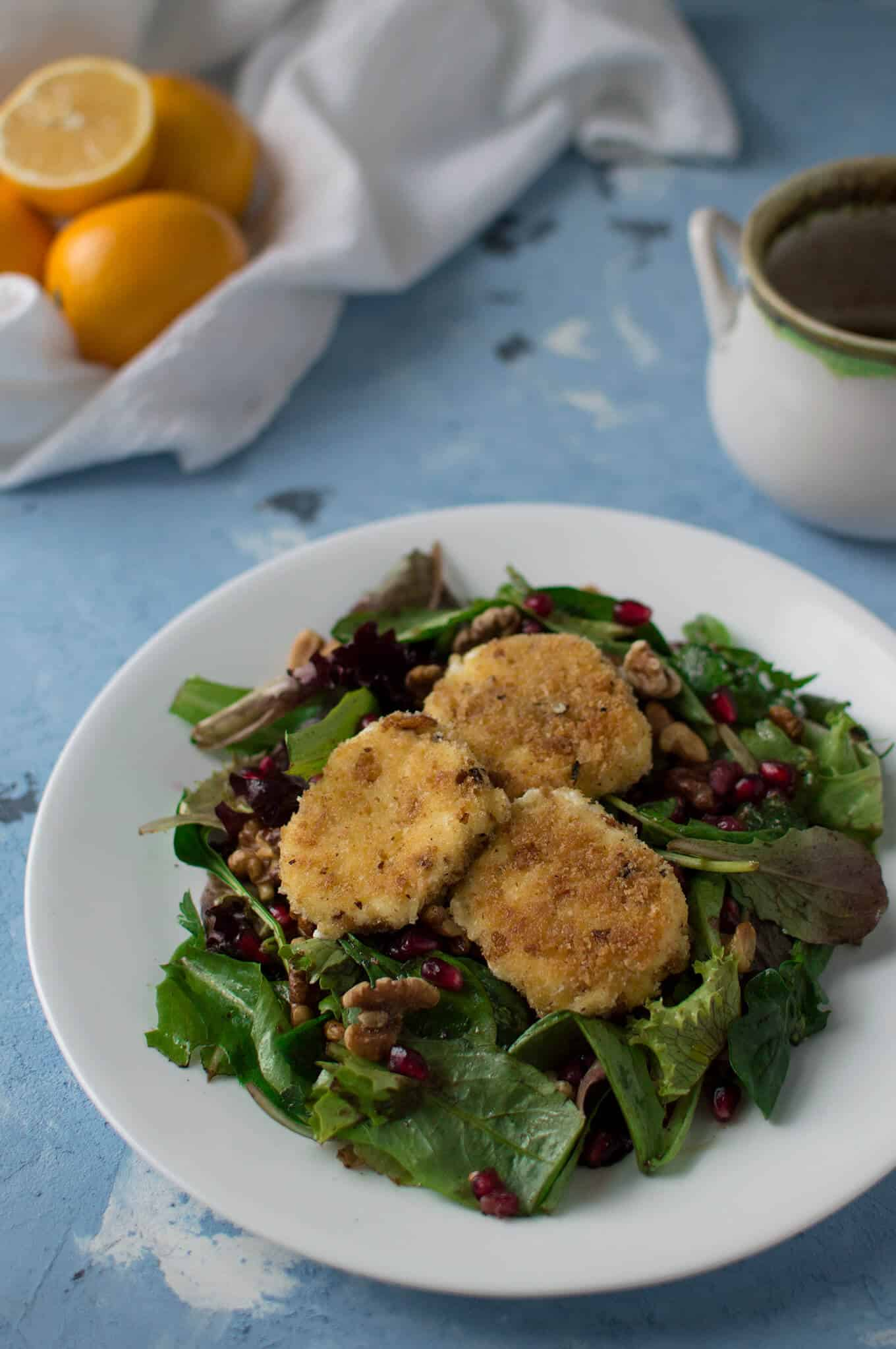A plate of fried goat cheese salad.