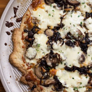 Puff Pastry Pizza with Caramelized Onions, Mushrooms, and Mascarpone Cheese | omgfood.com