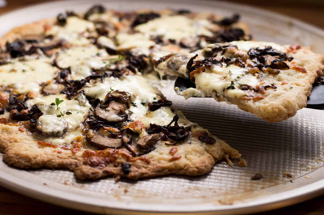 Puff Pastry Pizza with Caramelized Onions, Mushrooms, and Mascarpone Cheese   omgfood.com