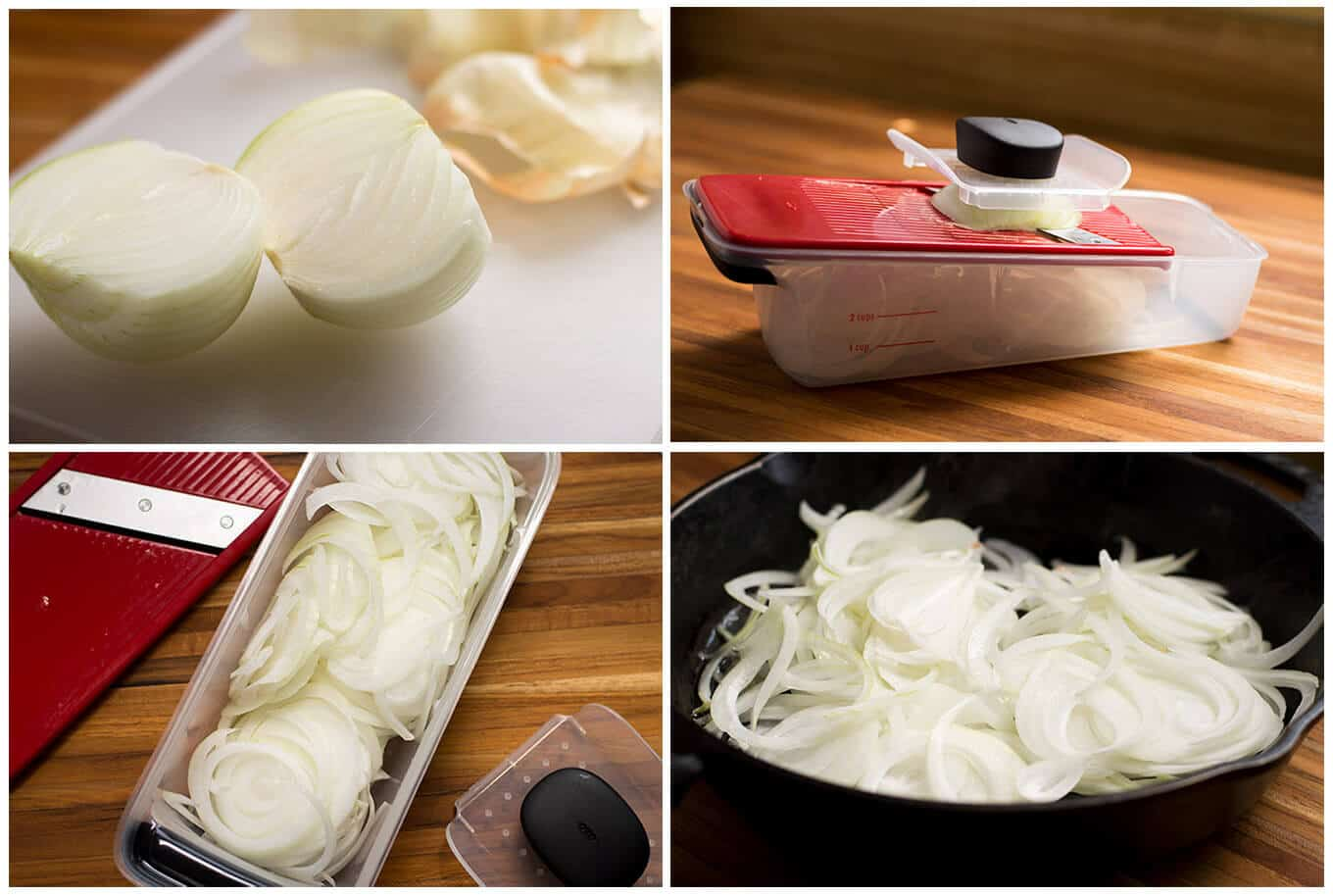 Collage of whole and sliced onions.
