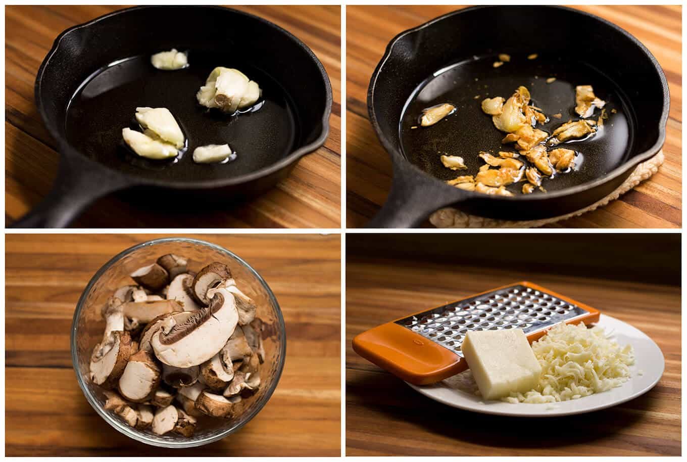 Collage of raw garlic, fried garlic, sliced mushrooms, and grated cheese.