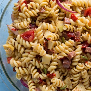 A bowl of pasta salad.