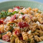 Pasta with Goat Cheese, Tomatoes, and Crispy Garlic