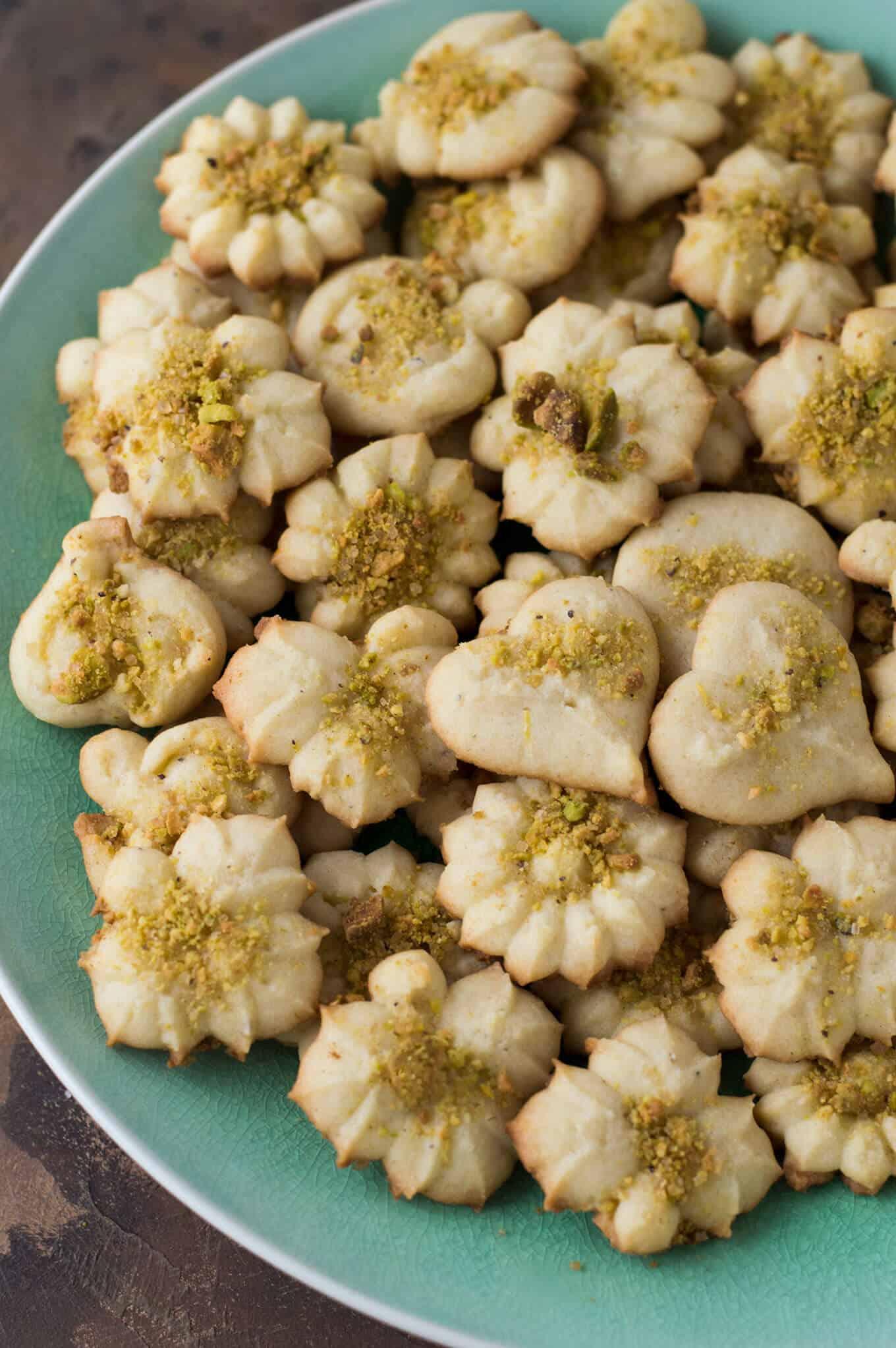 A plate of lemon cardamom sugar cookies.