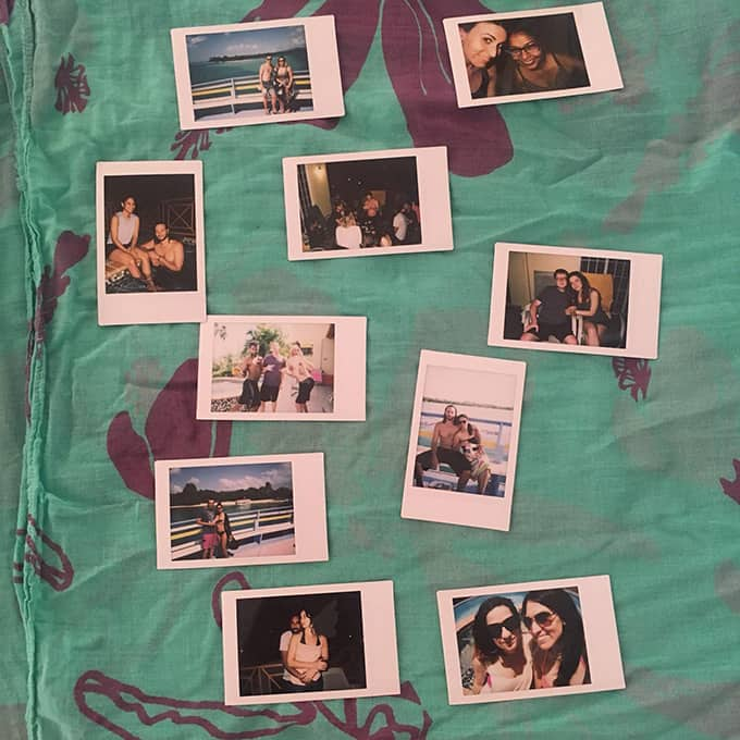 Assorted Polaroid-style photos of people.