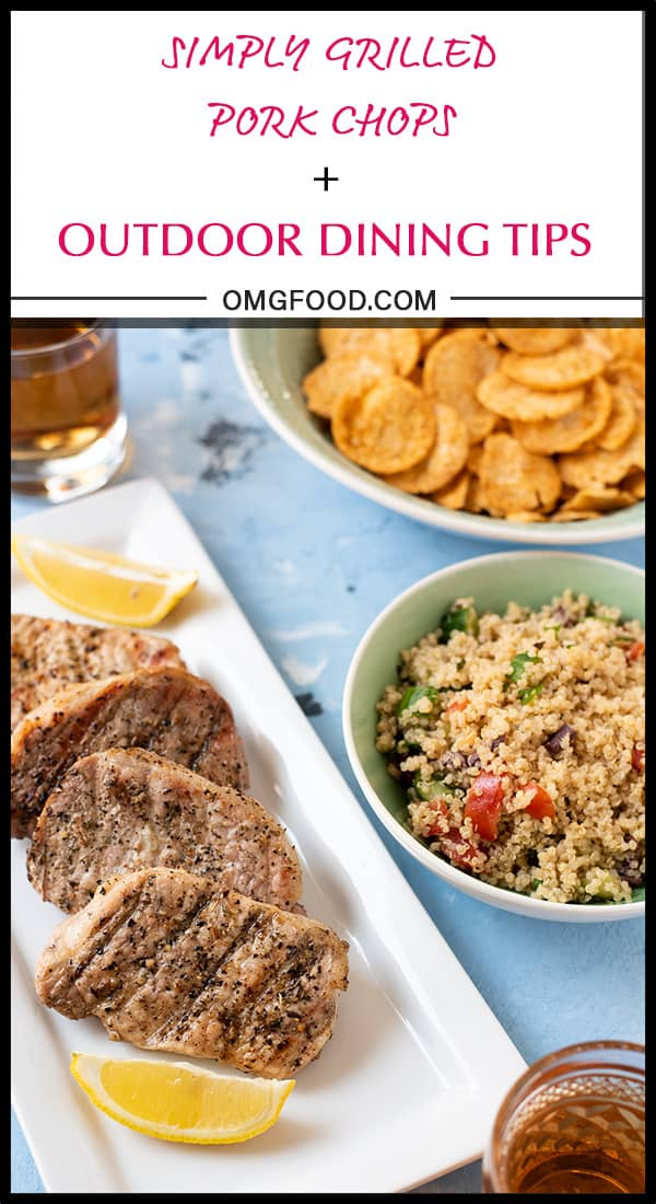 Simply Grilled Pork Chops & Outdoor Dining Tips with @sbreezetea, Fareway Meat Market, and Popchips | #SummerEatsBBoxx #sponsored | omgfood.com