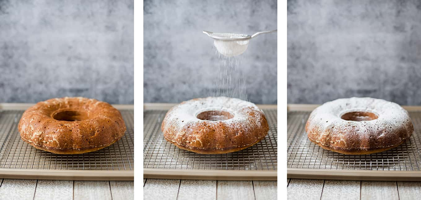 A triptych photo of powdered sugar being sifted onto a baked fanourpita cake.