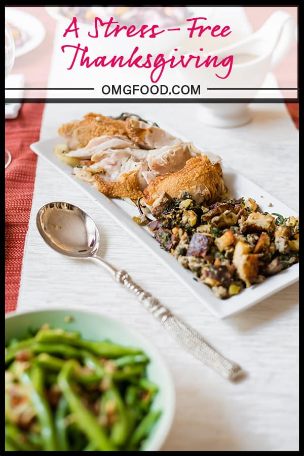 A pinterest banner of thanksgiving food on a platter.