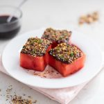 Pistachio Dukkah-Spiced Watermelon with Harissa and Pomegranate Molasses