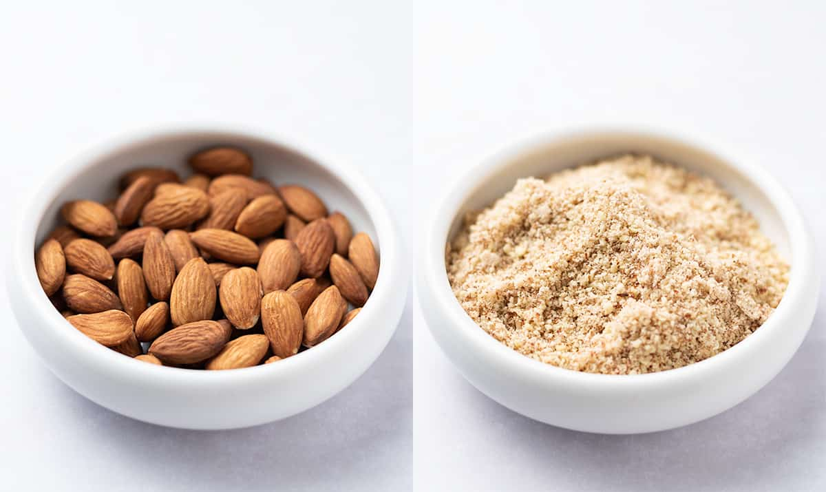 A diptych collage of whole and ground almonds in bowls.