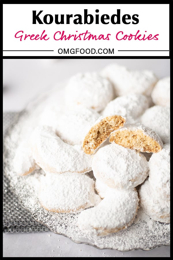 Pinterest banner: A platter of powdered sugar-covered cookies with a cookie split in half on top.