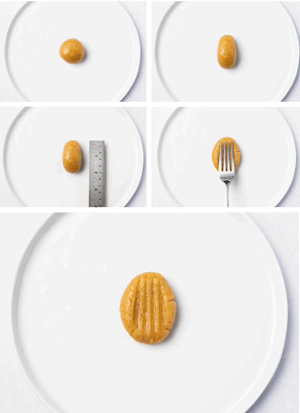 Collage of cookie dough being shaped into a cookie.