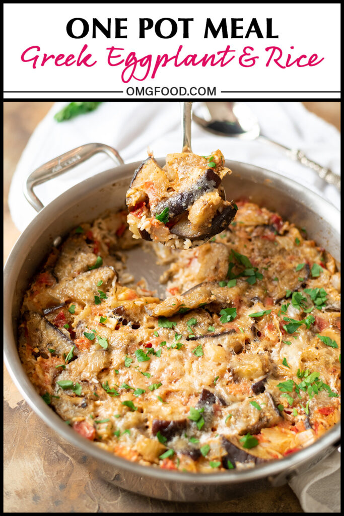 Pinterest banner for Greek eggplant and rice.
